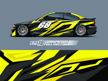 Racing Car Wrap Design Vector. Graphic Abstract Stripe Racing Background Kit Designs For Wrap Vehicle, Race Car, Rally, Adventure And Livery. Full Vector Eps 10