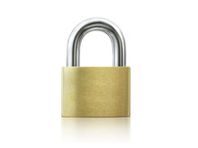 Locked Golden Padlock On The W...