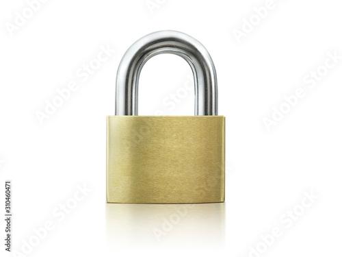 Cuadros en Lienzo Locked Golden Padlock on the white background