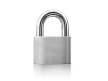 Locked Silver Padlock On A White Background