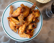 Top View Of Deep Fried Chicken Wings