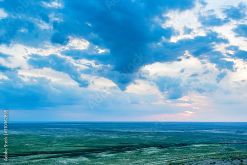 Photo View of Bogdo-Baskunchak Nature Reserve from Big Bogdo mountain in Russia