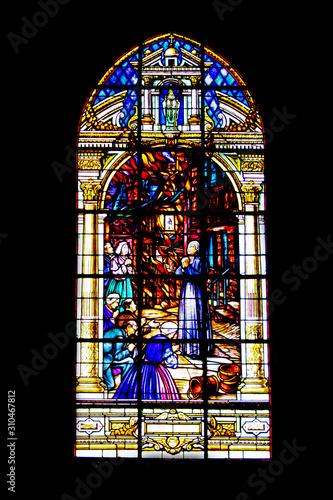 Obraz na plátně Auray. Vitrail de l'église Saint-Gildas. Morbihan. Bretagne