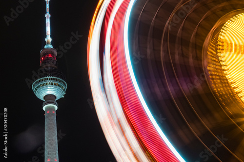 Berlin Alexanderplatz at Christmas time, television tower, Rotes Rathaus and a f Canvas Print