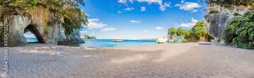 Leinwand Poster Panoramic picture of Cathedral Cove beach in summer without people during daytim