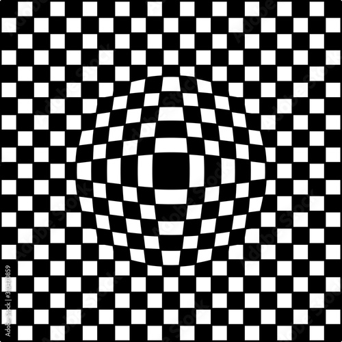Photo square checkered background with illusion of bloating, vector bloating checkered