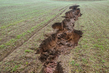 Sinkhole Soil Erosion In Farmland After Heavy Rain On The Landscape In Nottinghamshire In The UK.