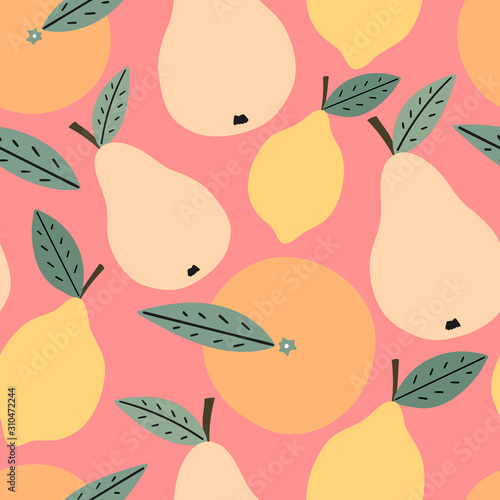 fototapeta na ścianę Hand drawn fruits seamless pattern for print, textile, fabric. Trendy kids fruits background. Lemon, orange and pears background.