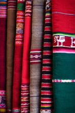 Close Up Of Traditional Peruvian Woven Fabrics