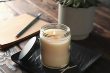 Burning Candle In Glass Jar, S...
