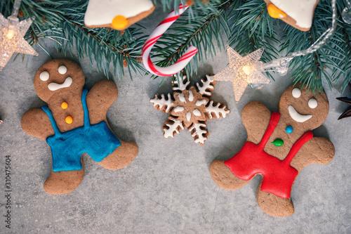 Homemade Christmas gingerbread cookies Canvas Print