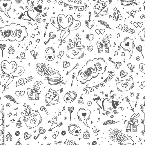 obraz PCV Love symbols Seamless pattern. Hand drawn doodles Vector illustration. Happy Valentine's day.
