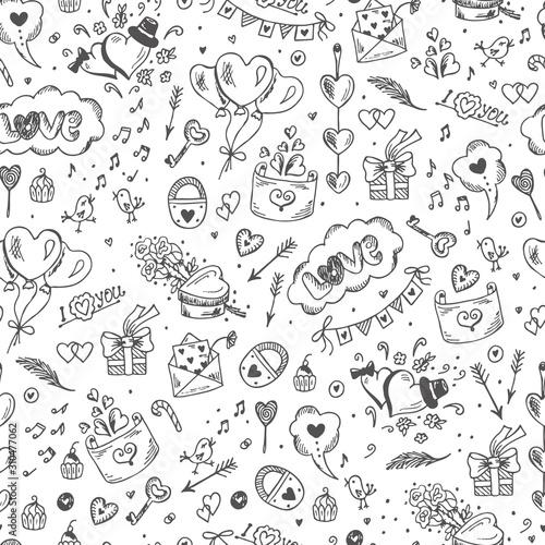 fototapeta na lodówkę Love symbols Seamless pattern. Hand drawn doodles Vector illustration. Happy Valentine's day.