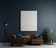 Leinwanddruck Bild - Modern living room interior design and blue wall texture background