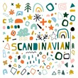 Set of geometric elements, doodles, circles, brush strokes, and figures in the Scandinavian style. Set of hand drawn various shapes and objects. Abstract contemporary modern trendy vector.