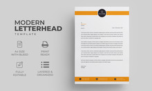 Creative Business Letterhead Template With Orange Elements