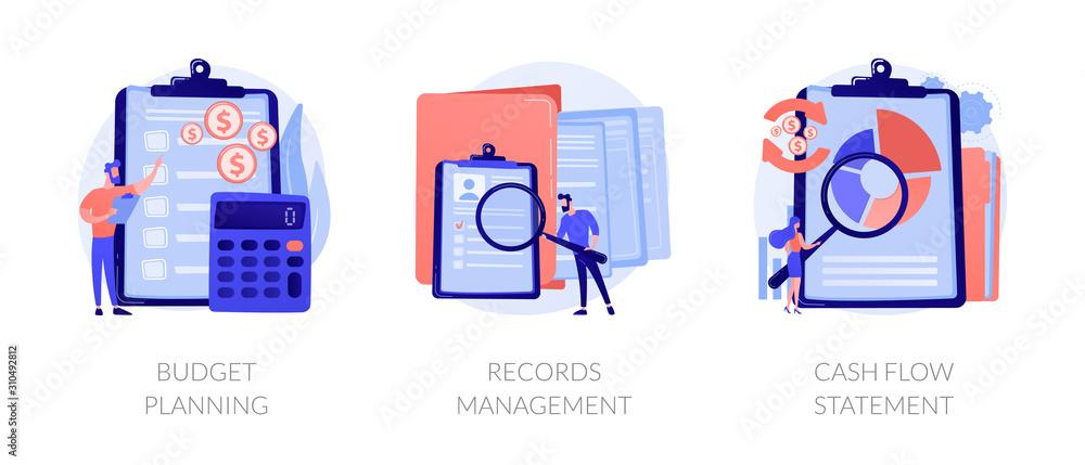 Fototapeta Money savings estimation, files organization system, financial report icons set. Budget planning, records management, cash flow statement metaphors. Vector isolated concept metaphor illustrations