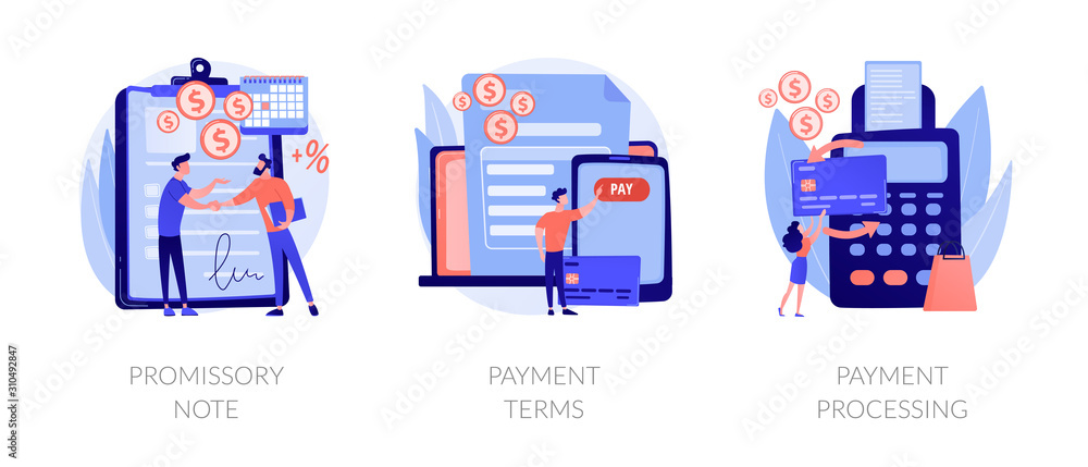 Fototapeta Money loan contract, exchange bill, online banking service, cash withdrawal icons set. Promissory note, payment terms, payment processing metaphors. Vector isolated concept metaphor illustrations