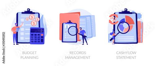 Fotomural Money savings estimation, files organization system, financial report icons set