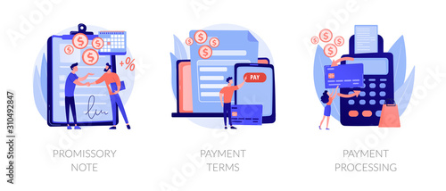 Fototapeta Money loan contract, exchange bill, online banking service, cash withdrawal icons set. Promissory note, payment terms, payment processing metaphors. Vector isolated concept metaphor illustrations obraz