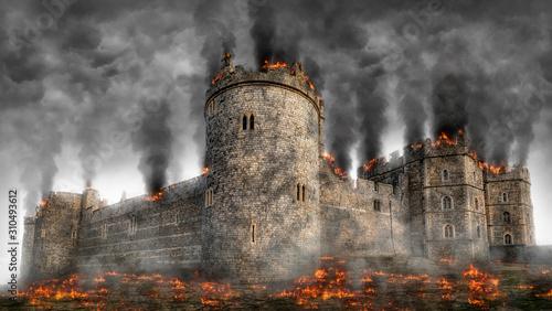 Fotografiet Windsor Castle Under Siege