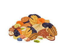 Pile Of Various Dried Fruits And Nuts Isolated On White Background. Vector Illustration Of Healthy Organic Food In Cartoon Flat Style.