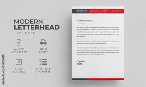 Fototapeta Letterhead Design Template with Red Elements obraz