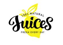 Natural Fresh Juices Vector Logo Badge