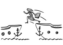 Drawn Business Woman Jumping From Ship To Ship