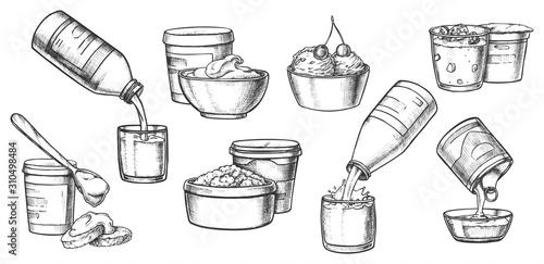 Fotografia Dairy milk products, cheese, yogurt sketch icons
