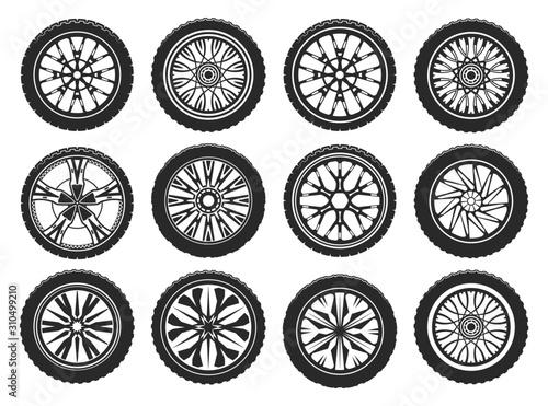 Photo Vector icons of car tires, light alloy wheel rims