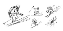 Sketches Of  Skiers. Outline W...