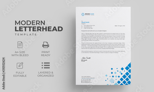 Fototapeta Letterhead Template | Editable Letterhead Design obraz