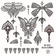 Vintage Art Deco Butterfly And Jewel Vector Motif Set. Stylised 1920s Style Geometric  Design Element. Hand Drawn Ornate Classic Wings, Flourish, Filigree Graphic Ornamental Flourish Clip Art. Eps 10