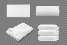 Vector 3d Realistic White Towel Rolls And Piles