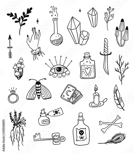 Hand drawn magic set, witchcraft vector doodle symbols. Magician and alchemy tools collection: eye, crystal, roots, potion, feather, mushrooms, candle.  - 310506893