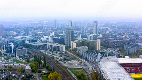 Photo Aerial view of Eindhoven is a city in the province of North Brabant in the south Netherlands