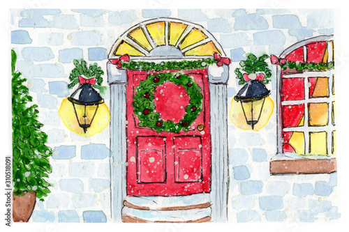 Watercolor Christmas card with entrance in building with red door, decorated christmas wreath, lanterns and pine tree.