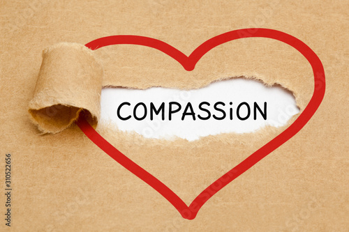 Photo Word Compassion Heart Torn Paper Concept
