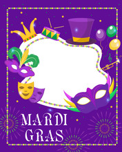 Mardi Gras Frame Template With...