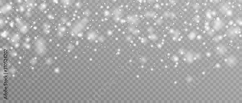 Fototapeta Realistic vector falling snow fall overlay. Shining snowflakes background for Christmas banner of winter collection decoration isolated on transparent. Stock vector obraz