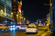Moscow, Russia - November, 28, 2019: image of night traffic in Moscow