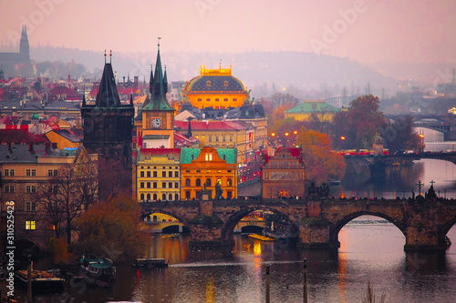 Obraz Prague, Czech Republic - November, 22, 2019: Prague landscape with view of Charles bridge - fototapety do salonu