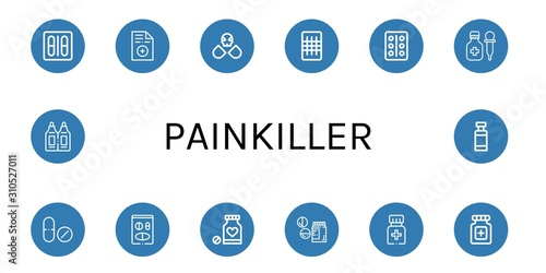 Set of painkiller icons