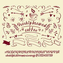 Vintage Font Coffee Illustrati...