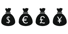 Money Bag Icons. Dollar, Euro, Pound Sterling And Japanese Yen Or Chinese Yuan Icons Set. Isolated Vector Illustration.