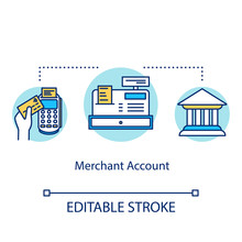 Merchant Account Concept Icon. Payment Transaction Idea Thin Line Illustration. Banking Operation. Credit, Debit Card. Financial Transfer. Vector Isolated Outline Drawing. Editable Stroke