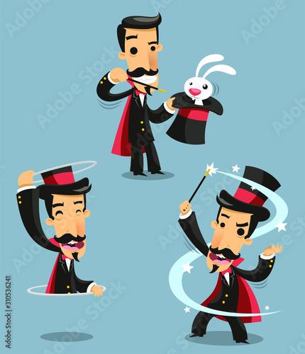 Obraz na płótnie magician cartoon set 2