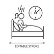 Change in sleep pattern linear icon. Insomnia. Troubled woman. Stress and anxiety. Sleep deprivation. Thin line illustration. Contour symbol. Vector isolated outline drawing. Editable stroke