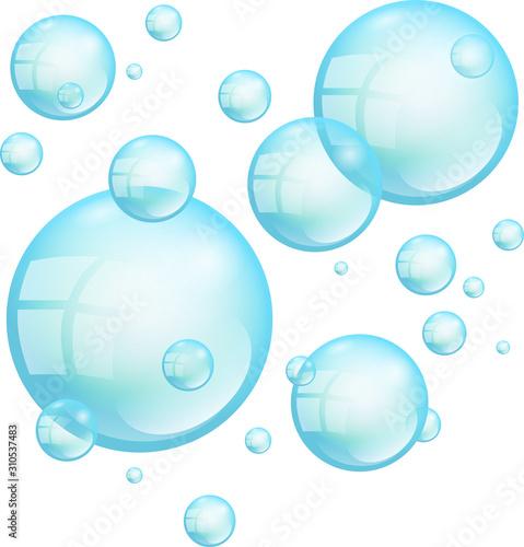 Valokuva Turquoise Floating Soap Bubbles